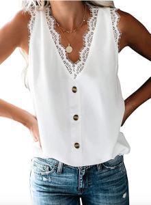 Uusollecy Women's V Neck Lace Trim Tank (White)