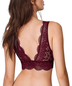YIANNA Plunge Lace Bralette (Red)