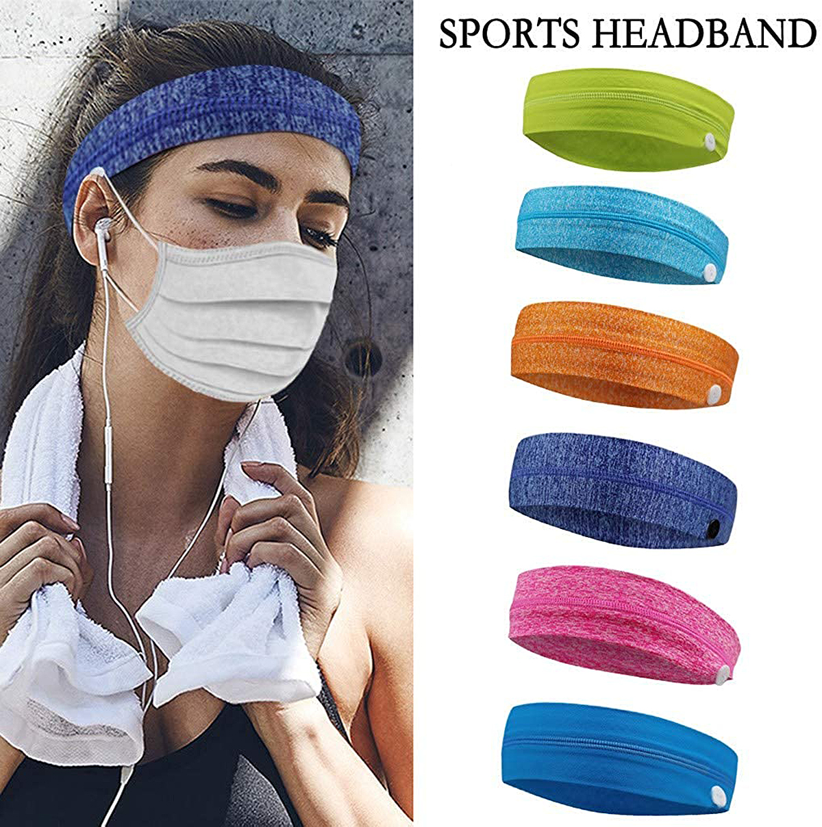 Yokala Bandana Sports Button Headband