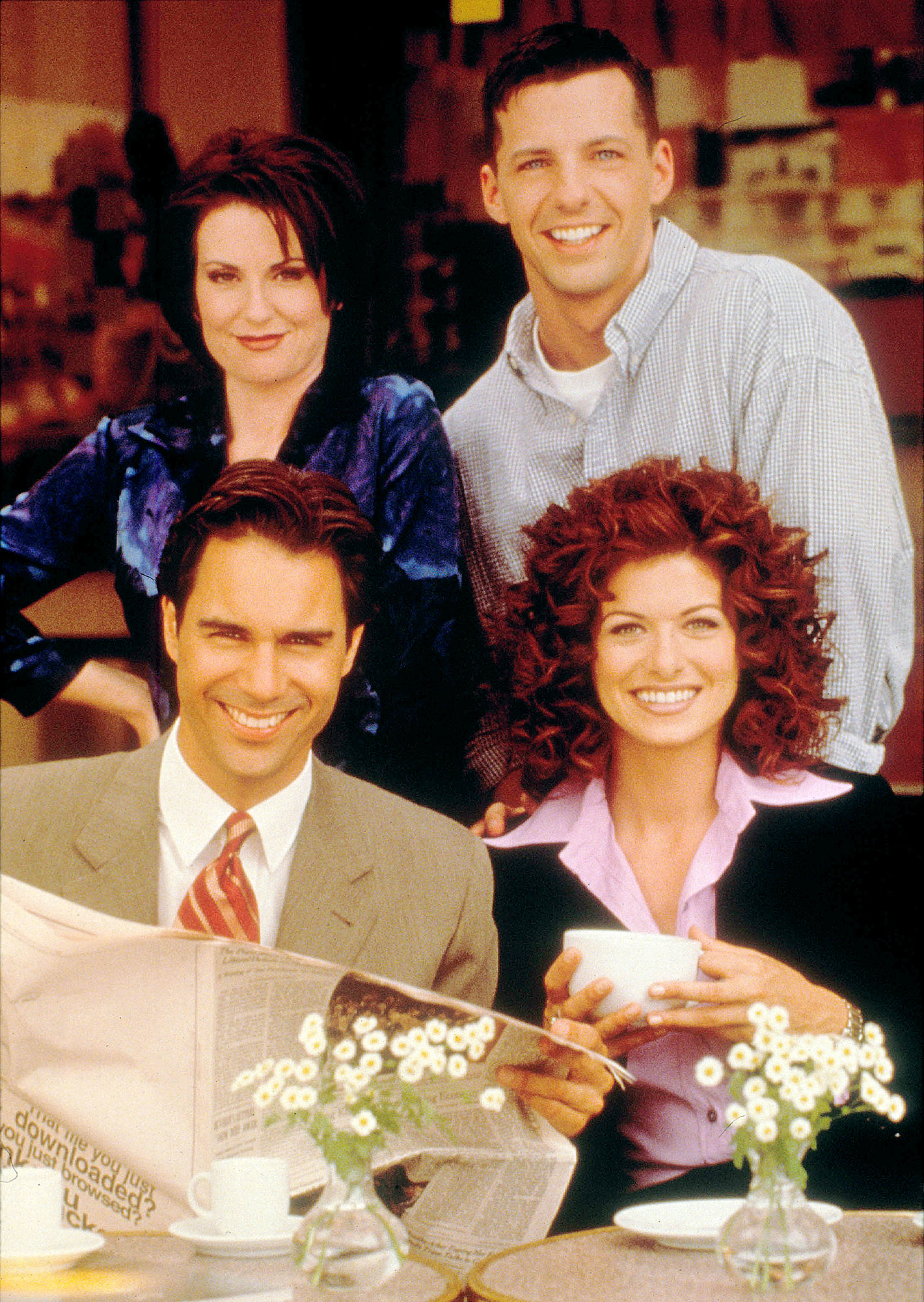 Megan Mullally Sean Hayes Debra Messing and Eric McCormack on Will and Grace Debra Messing Is Tired of Women in Media Being Pitted Against Each Other