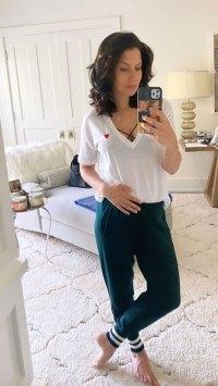 Hilaria Baldwin Pregnant Bump Mirror Selfie Instagram