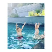 Hilary Duff Instagram Luca Comrie and Banks Bair Celebrity Kids Playing in the Pool in Summer 2020