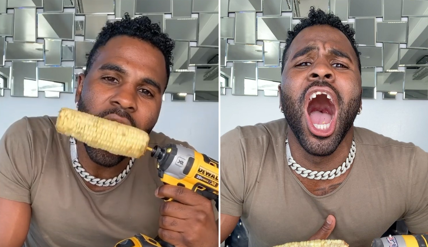 Jason Derulo Appears to Chip His Teeth While Eating Corn on the Cob before after