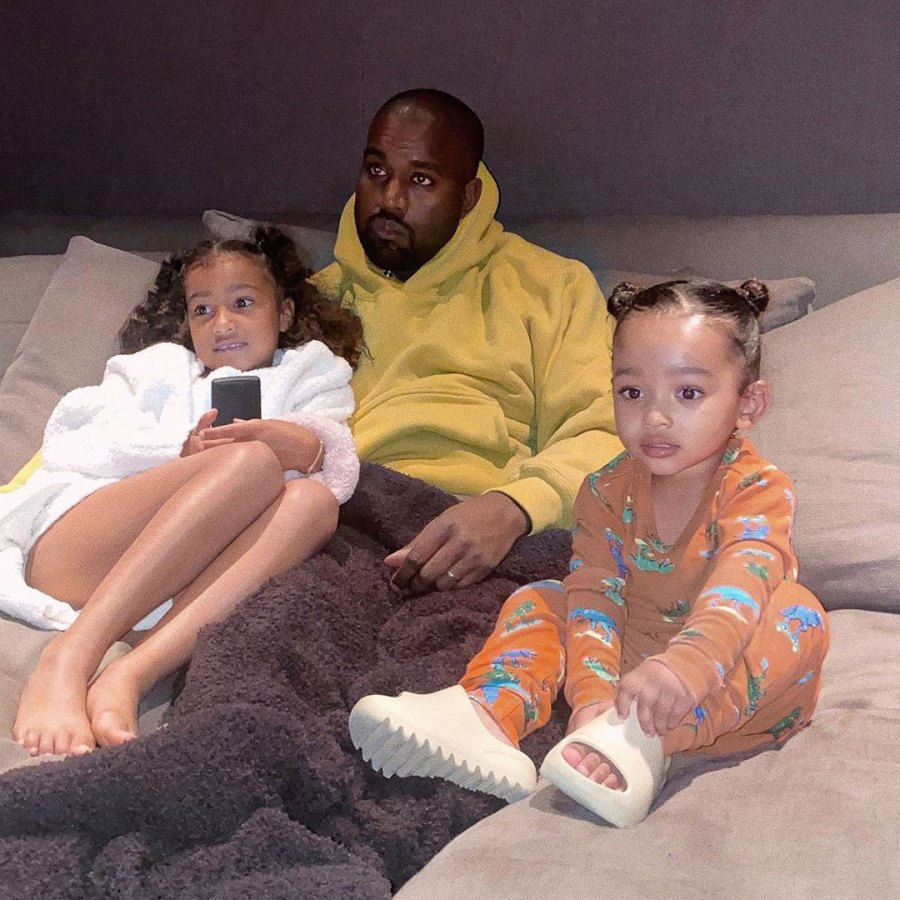 Kanye West Watching TV With Daughters North and Chicago Instagram