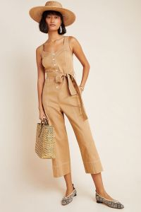Mischa Contrast-Stitched Jumpsuit (Taupe)