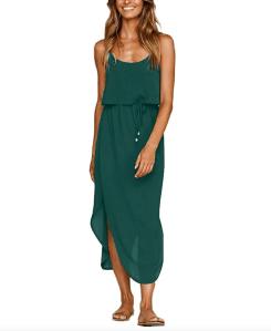 NERLEROLIAN Women's Adjustable Strappy Summer Beach Midi Dress (Dark Green)