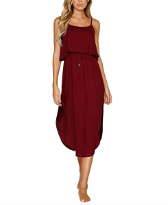 NERLEROLIAN Women's Adjustable Strappy Summer Beach Midi Dress (Wine Red)
