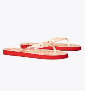 Printed-Strap Thin Flip-Flop (Red Destination / Red Destination)