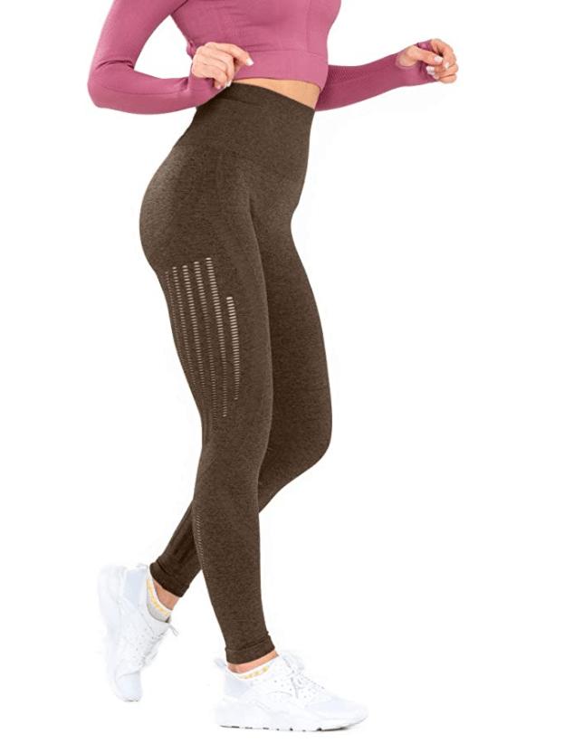 Leggings sin costuras de cintura alta para mujer Redqenting (verde negruzco)