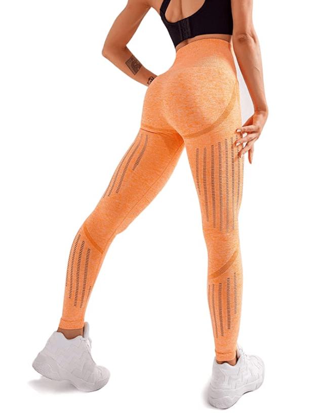 Leggings sin costuras de cintura alta para mujer de Redqenting (naranja)