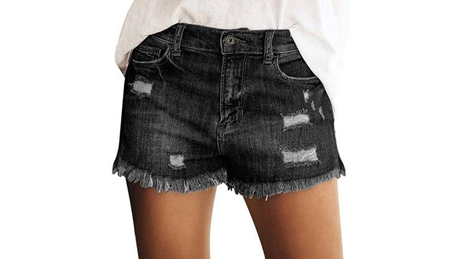 luvamia Women's Mid Rise Shorts (Black Ink)
