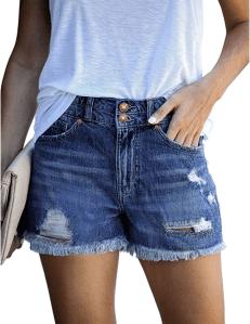 luvamia Women's Mid Rise Shorts (Classic Blue)