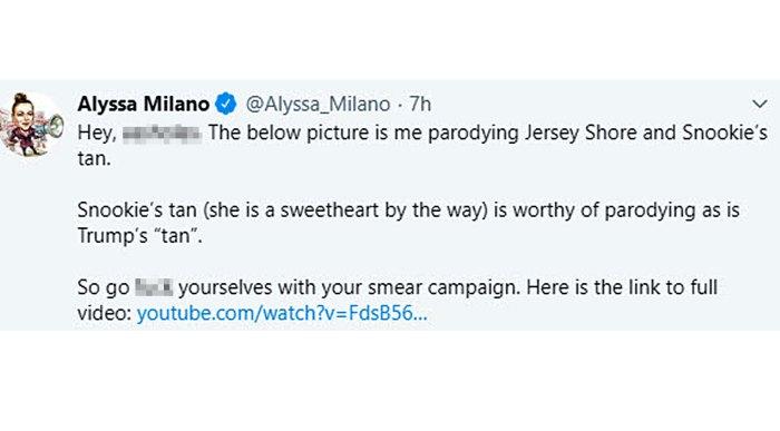 Alyssa Milano Slams Blackface Accusations Claims She Being Snooki