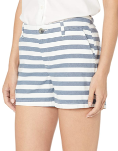 Amazon Essentials Women's 3.5 Inseam Chino Short (Navy/White Stripe)