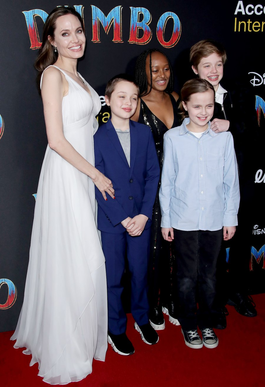 Angelina Jolie with children Shiloh Jolie-Pitt, Vivienne Jolie Pitt, Zahara Jolie Pitt and Knox Jolie Pitt