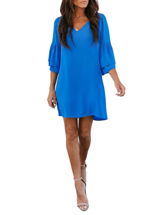 BELONGSCI Mini vestido recto con mangas acampanadas para mujer (azul)