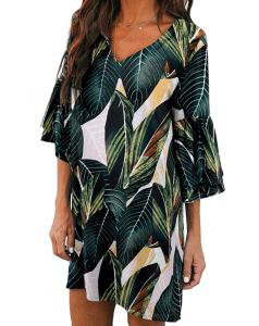 BELONGSCI Women's Bell Sleeve Shift Mini Dress (Green Multi)