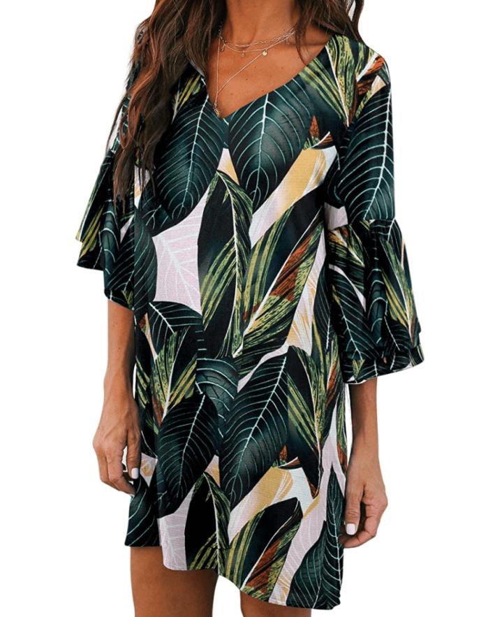BELONGSCI Mini vestido recto con mangas acampanadas para mujer (verde multicolor)