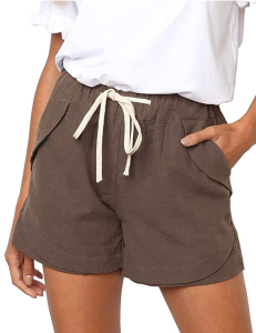 BLENCOT Women's Drawstring Elastic Waist Beach Shorts (Khaki)