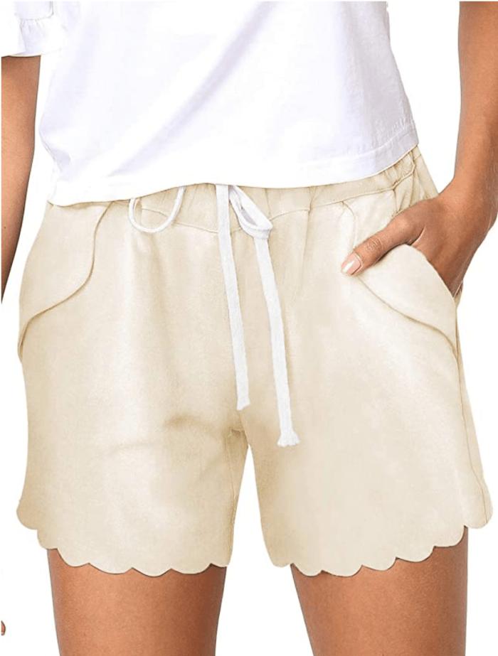BLENCOT Women's Drawstring Elastic Waist Beach Shorts (Scallop Hem Beige)