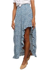BTFBM Women's Boho Print High Low Long Skirt (Blue)