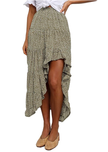 BTFBM Women's Boho Print High Low Long Skirt (Green)