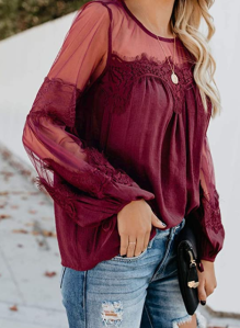 Biucly Women's Casual V Neck Patchwork Lace Long Sleeve Top