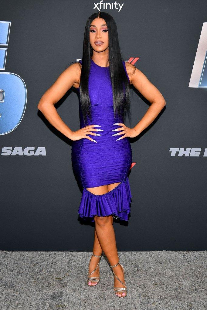 Cardi B Hair Mask Purple Dress