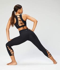 Core 10 Women's (XS-3X) High Waist Yoga Lattice 7:8 Crop Legging (Black)