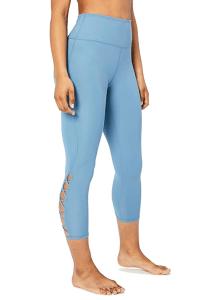 Core 10 Women's (XS-3X) High Waist Yoga Lattice 7:8 Crop Legging (Denim)