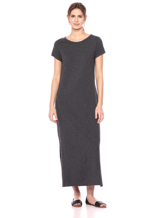 Daily Ritual Women's Lived-in Cotton Short-Sleeve Crewneck Maxi Dress (Charcoal Grey)