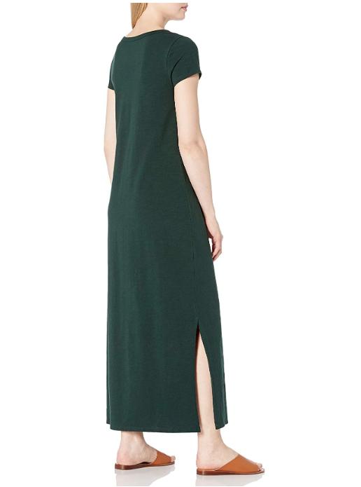 Daily Ritual Women's Lived-in Cotton Short-Sleeve Crewneck Maxi Dress (Moss Green)