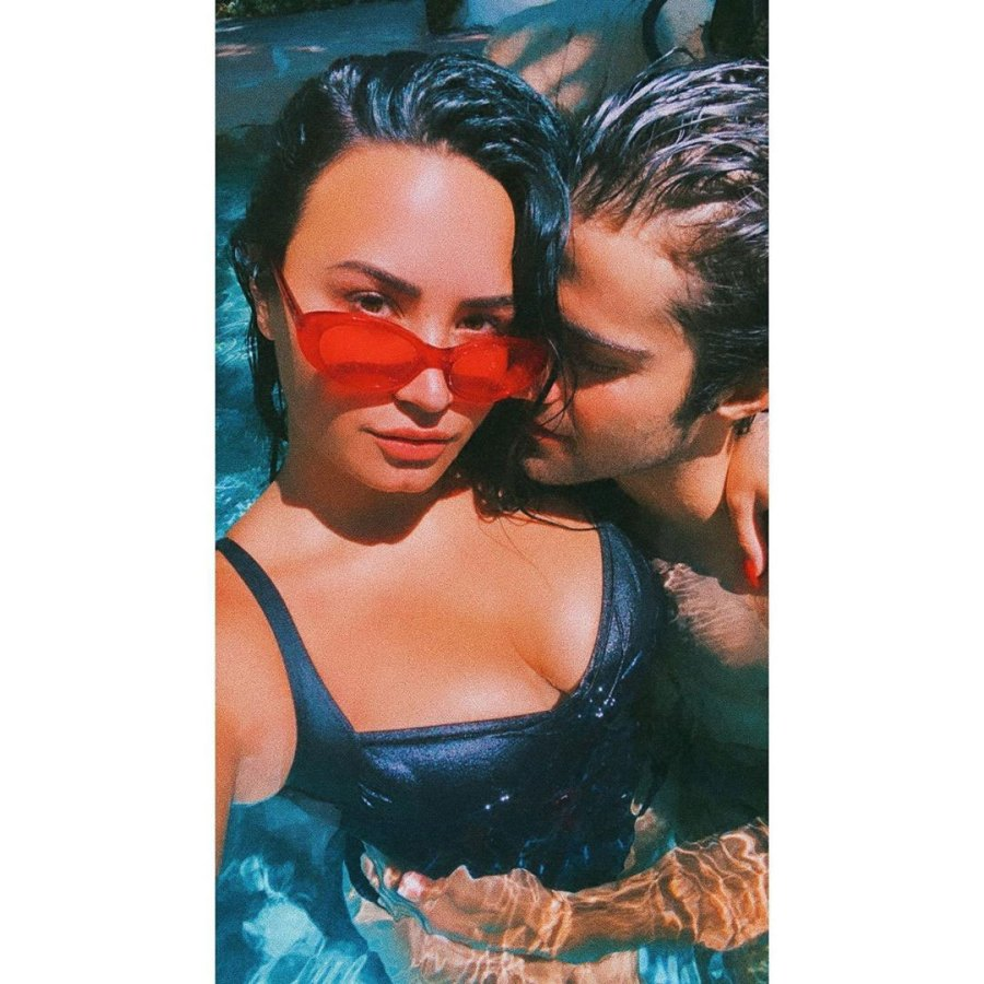 Demi Lovato and Boyfriend Max Ehrich Talking About Getting Engaged Instagram Red Glasses Swimming Pool