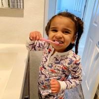Dream Kardashian Brushing Her Teeth