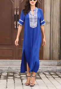 GOSOPIN Women's Summer Cover Up Kaftan Dress (Navy Blue)