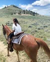 Penelope Disick riding a Horse Inside the Kardashian-Jenner Family Wyoming Trip