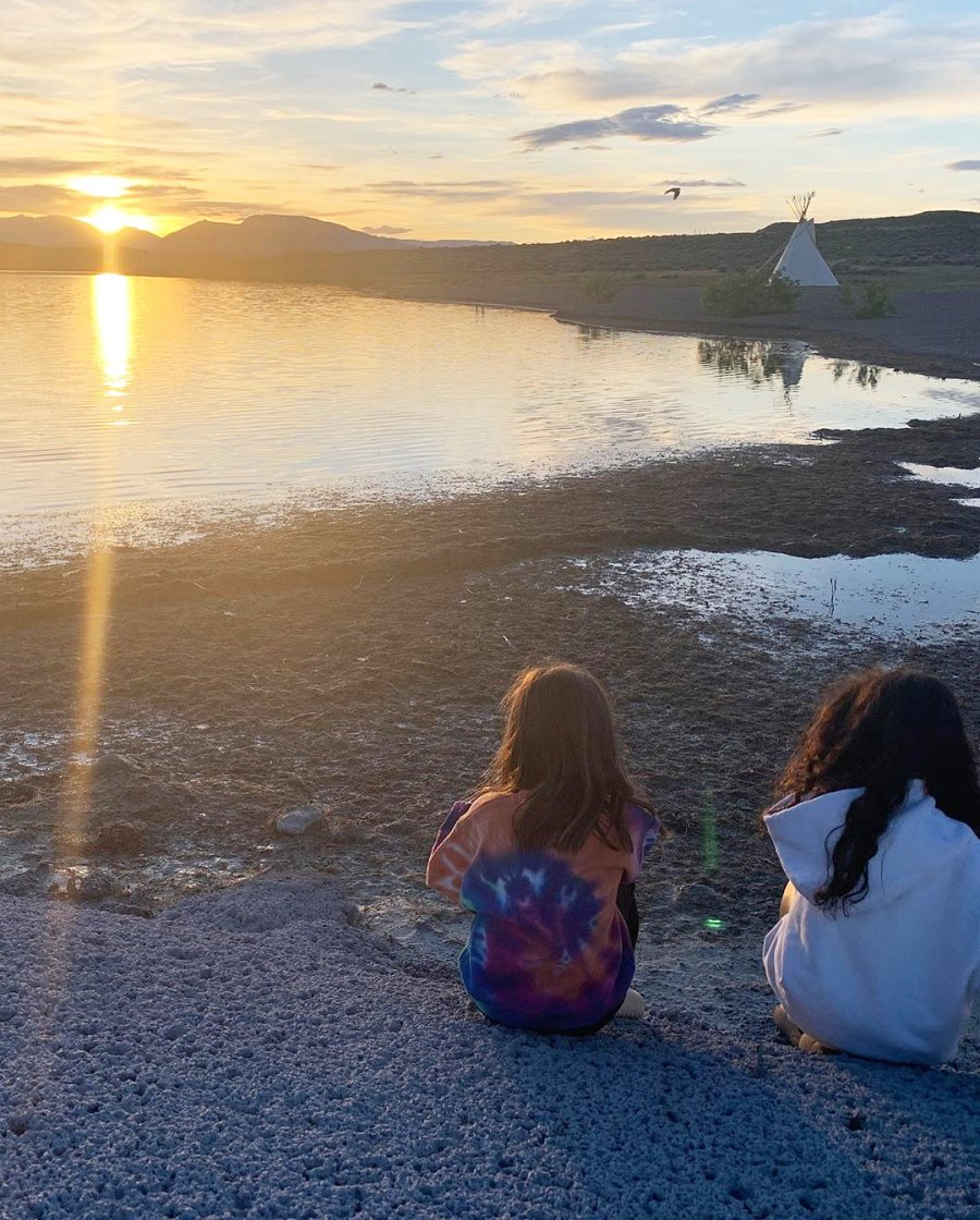 Penelope Disick and North West looking at the sunset Inside the Kardashian-Jenner Family Wyoming Trip