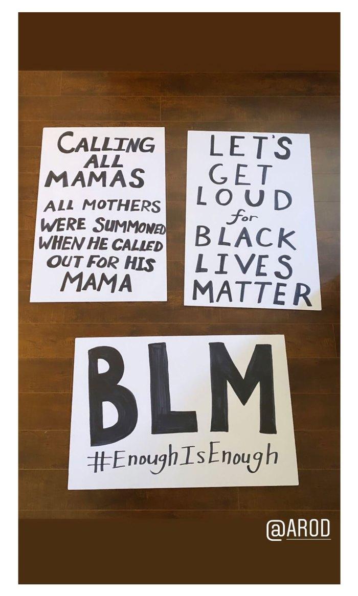 Jennifer Lopez and Alex Rodriguez Attend Black Lives Matter Protest Signs