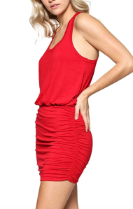 LaClef Women's Mini Ruched Tank Shift Dress (Tango Red)