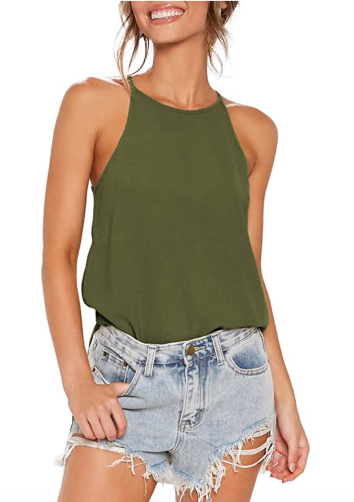 LouKeith Camiseta sin mangas con espalda cruzada y espalda descubierta para mujer (oliva)