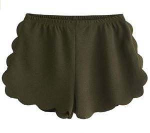 MakeMeChic Women's Casual Elastic Waist Scalloped Beach Shorts (Army Green)