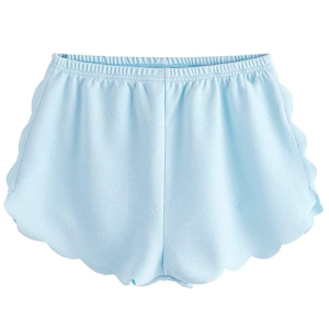 MakeMeChic Women's Casual Elastic Waist Scalloped Beach Shorts (Light Blue)