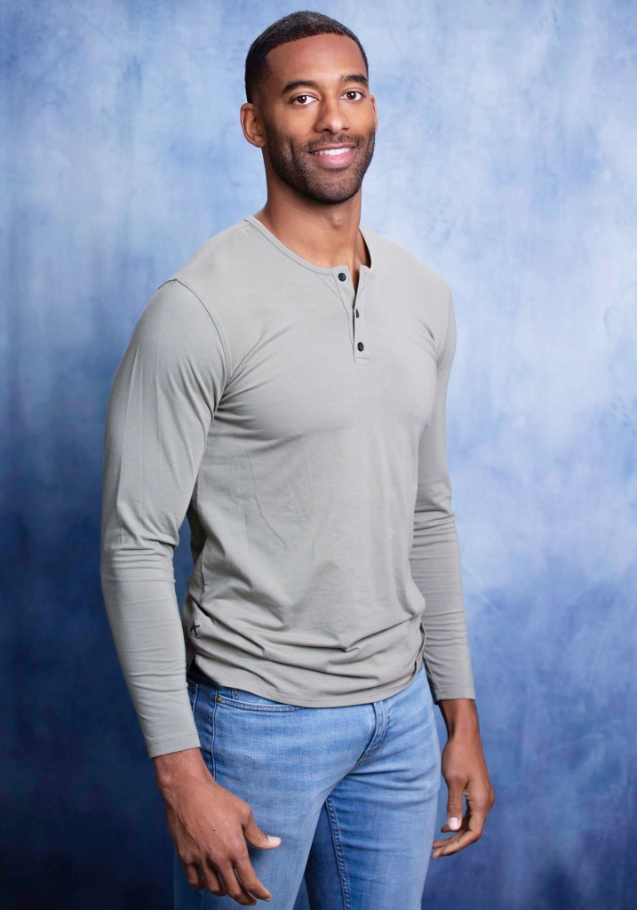 Matt James Becoming the First Black Bachelor Casting News Blue Background