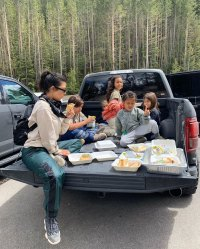 North Saint Kourtney Kardashian Pickup Truck Eating
