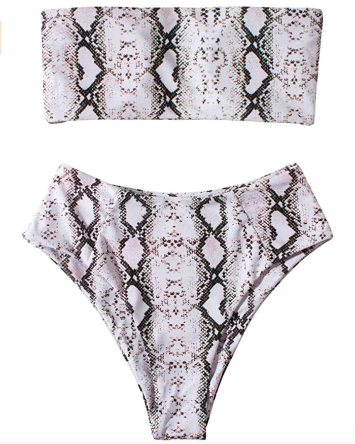 OMKAGI Women's 2 Pieces Bandeau Bikini Swimsuits