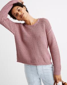 Open-Stitch Austen Pullover Sweater (Weathered Berry)