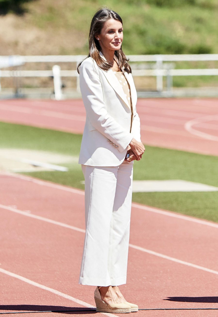 Queen Letizia Wows in an All-White Ensemble for a Visit to Sports Center
