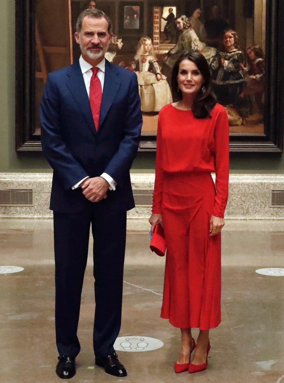 Queen Letizia Is a Standout in a Fiery Red Look