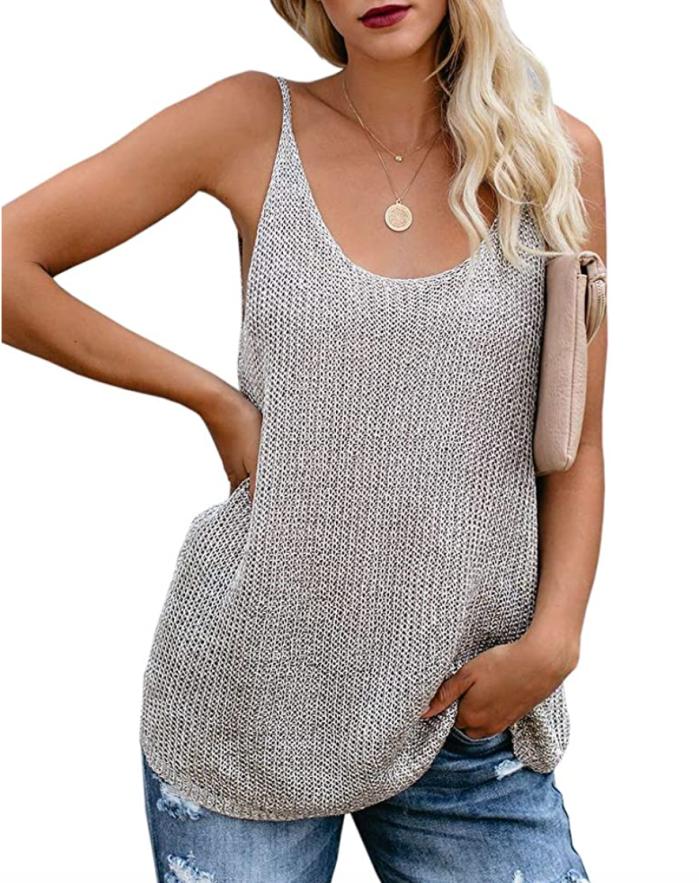 Sherrylily Women Oversize Scoop Neck Tank Top (Grey)