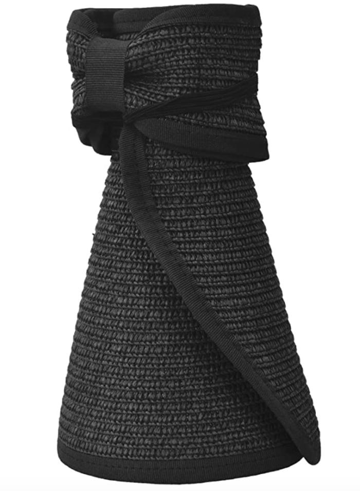 Simplicity Women's Summer Foldable Straw Sun Visor (Black)